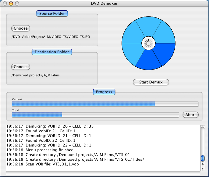 Click to view DVD Demuxer for Mac 1.6 screenshot